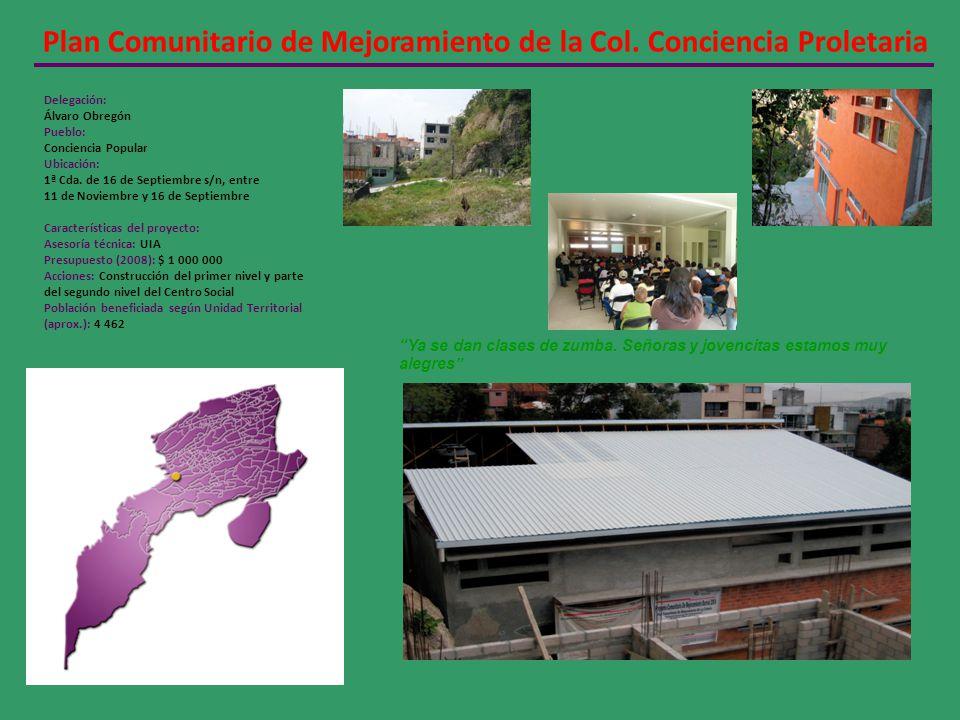 Plan Comunitario de Mejoramiento de la Col. Conciencia Proletaria Delegación: Álvaro Obregón Pueblo: Conciencia Popular Ubicación: 1ª Cda. de 16 de Se