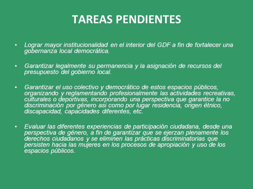 TAREAS PENDIENTES Lograr mayor institucionalidad en el interior del GDF a fin de fortalecer una gobernanza local democrática. Garantizar legalmente su