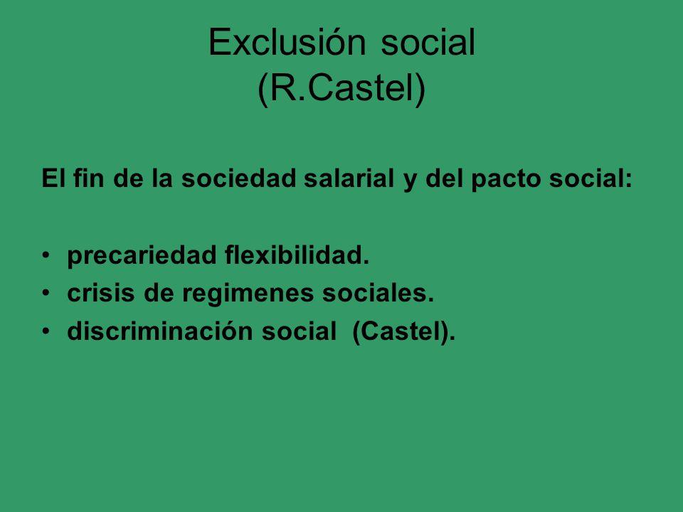 Exclusión social (R.Castel) El fin de la sociedad salarial y del pacto social: precariedad flexibilidad. crisis de regimenes sociales. discriminación