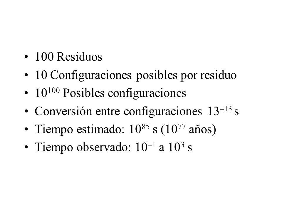 100 Residuos 10 Configuraciones posibles por residuo 10 100 Posibles configuraciones Conversión entre configuraciones 13 –13 s Tiempo estimado: 10 85 s (10 77 años) Tiempo observado: 10 –1 a 10 3 s