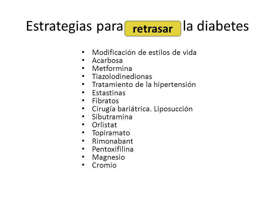 Estrategias para prevenir la diabetes Modificación de estilos de vida Acarbosa Metformina Tiazolodinedionas Tratamiento de la hipertensión Estastinas