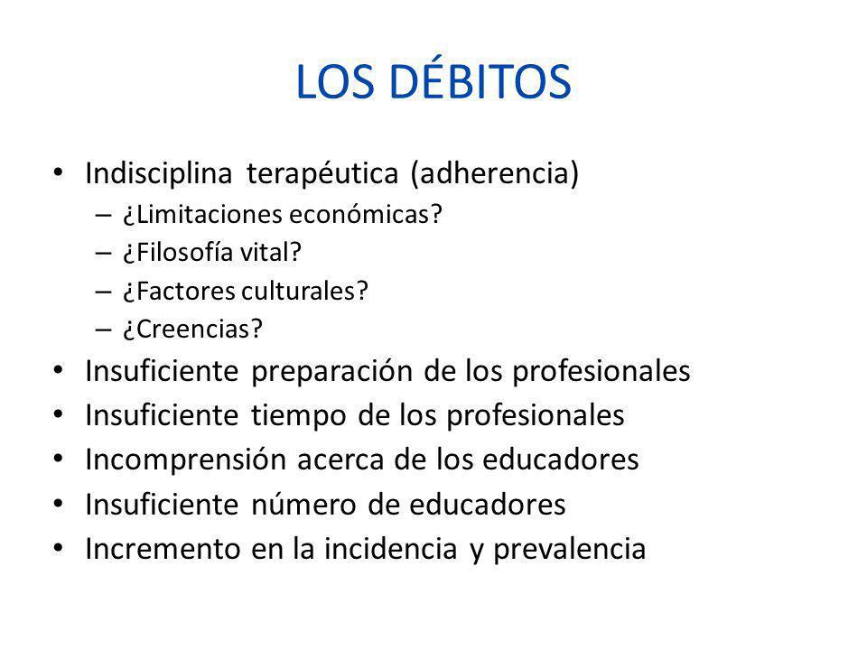 LOS DÉBITOS Indisciplina terapéutica (adherencia) – ¿Limitaciones económicas? – ¿Filosofía vital? – ¿Factores culturales? – ¿Creencias? Insuficiente p