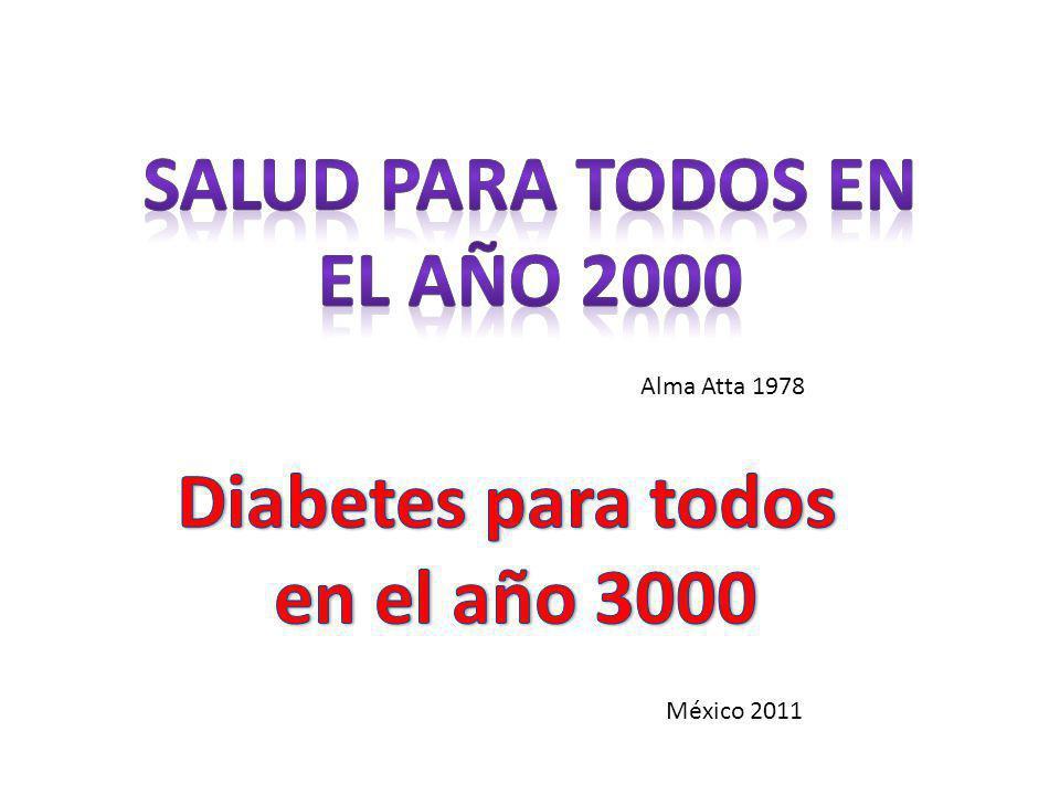 Prevalencia de Diabetes tipo 2 (según la ENSANUT 2006) Salud Pública de México 2010;52 suppl 1:519-26 Pacientes en tratamiento Variable% Bajo tratamiento94.06 Insulina6.79 Antidiabéticos orales84.81 Ambos2.46 Dieta24.17 Ejercicio1.86 Tratamientos no convencionales 6.08 Hemoglobina glucosilada% Menos de 7%5.29 7.1 – 11%38.4% Más de 11.1%56.2%