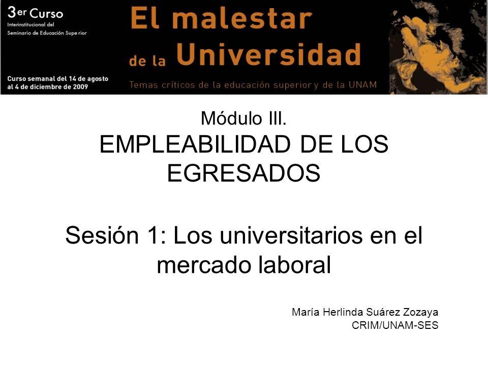 Módulo III. EMPLEABILIDAD DE LOS EGRESADOS Sesión 1: Los universitarios en el mercado laboral María Herlinda Suárez Zozaya CRIM/UNAM-SES