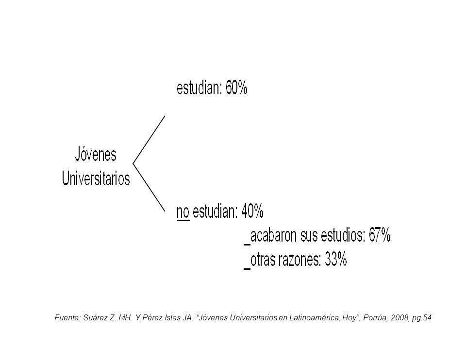 Fuente: Suárez Z. MH. Y Pérez Islas JA. Jóvenes Universitarios en Latinoamérica, Hoy, Porrúa, 2008, pg.54