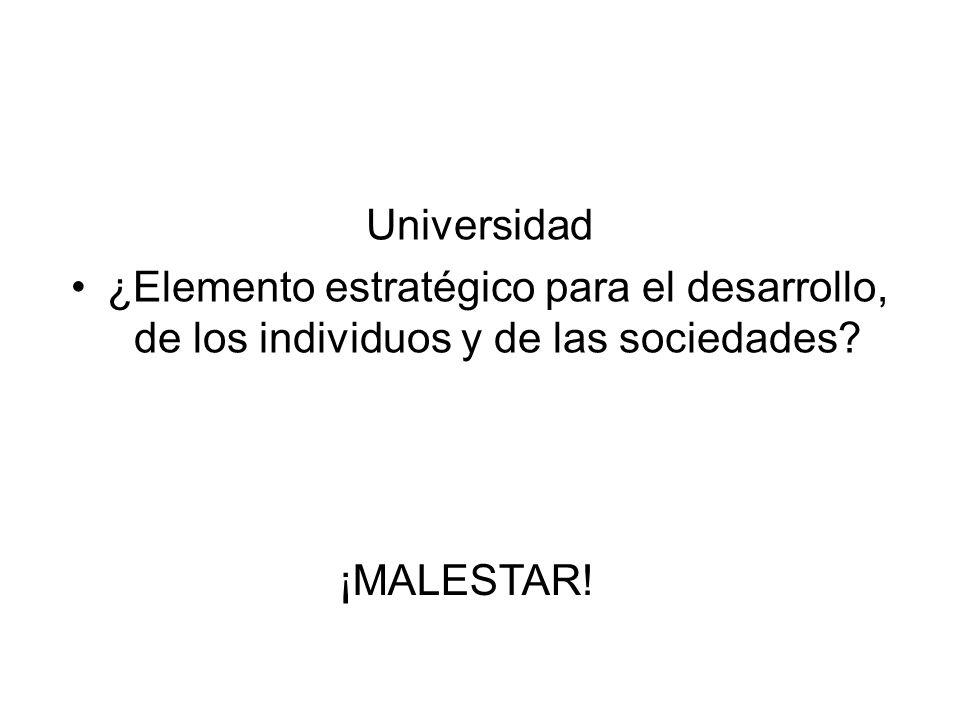 Universidad ¿Elemento estratégico para el desarrollo, de los individuos y de las sociedades? ¡MALESTAR!