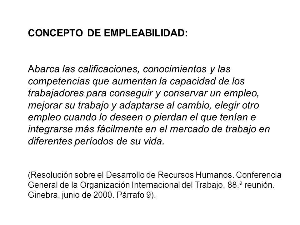 CONCEPTO DE EMPLEABILIDAD: Abarca las calificaciones, conocimientos y las competencias que aumentan la capacidad de los trabajadores para conseguir y