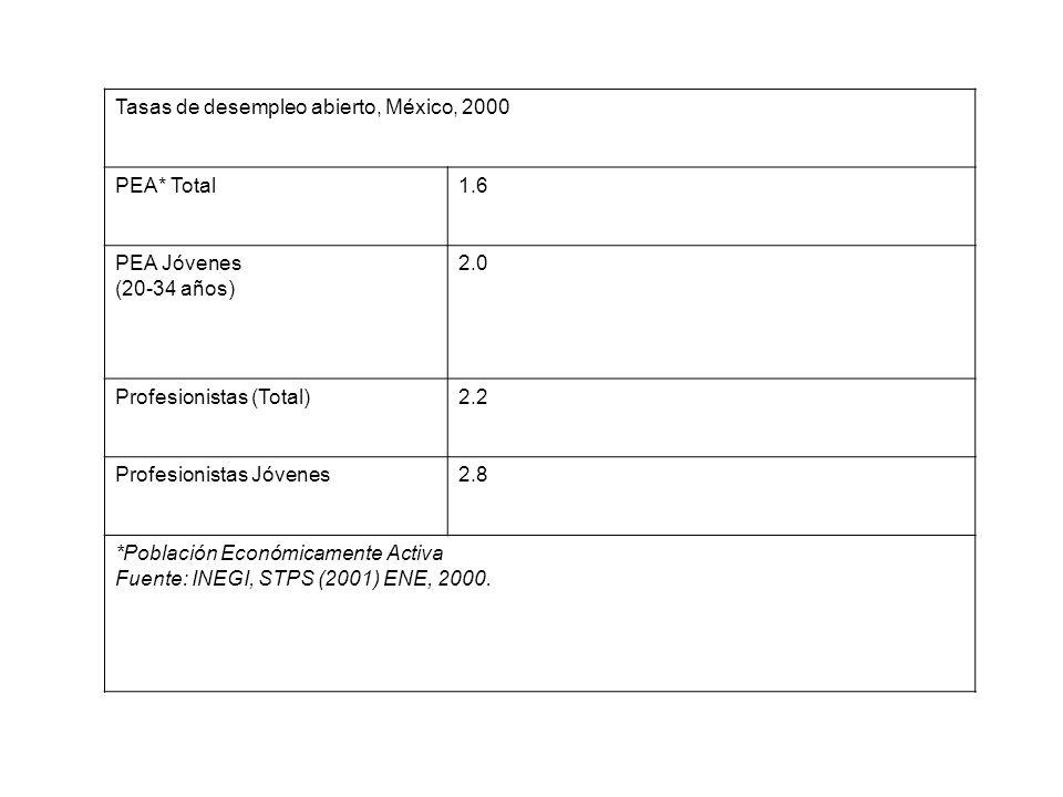 Tasas de desempleo abierto, México, 2000 PEA* Total1.6 PEA Jóvenes (20-34 años) 2.0 Profesionistas (Total)2.2 Profesionistas Jóvenes2.8 *Población Económicamente Activa Fuente: INEGI, STPS (2001) ENE, 2000.