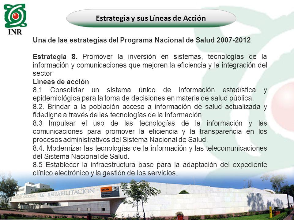 Una de las estrategias del Programa Nacional de Salud 2007-2012 Estrategia 8. Promover la inversión en sistemas, tecnologías de la información y comun