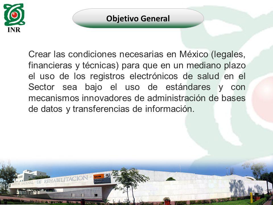 Crear las condiciones necesarias en México (legales, financieras y técnicas) para que en un mediano plazo el uso de los registros electrónicos de salu