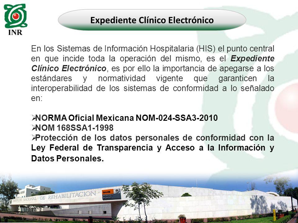 En los Sistemas de Información Hospitalaria (HIS) el punto central en que incide toda la operación del mismo, es el Expediente Clínico Electrónico, es