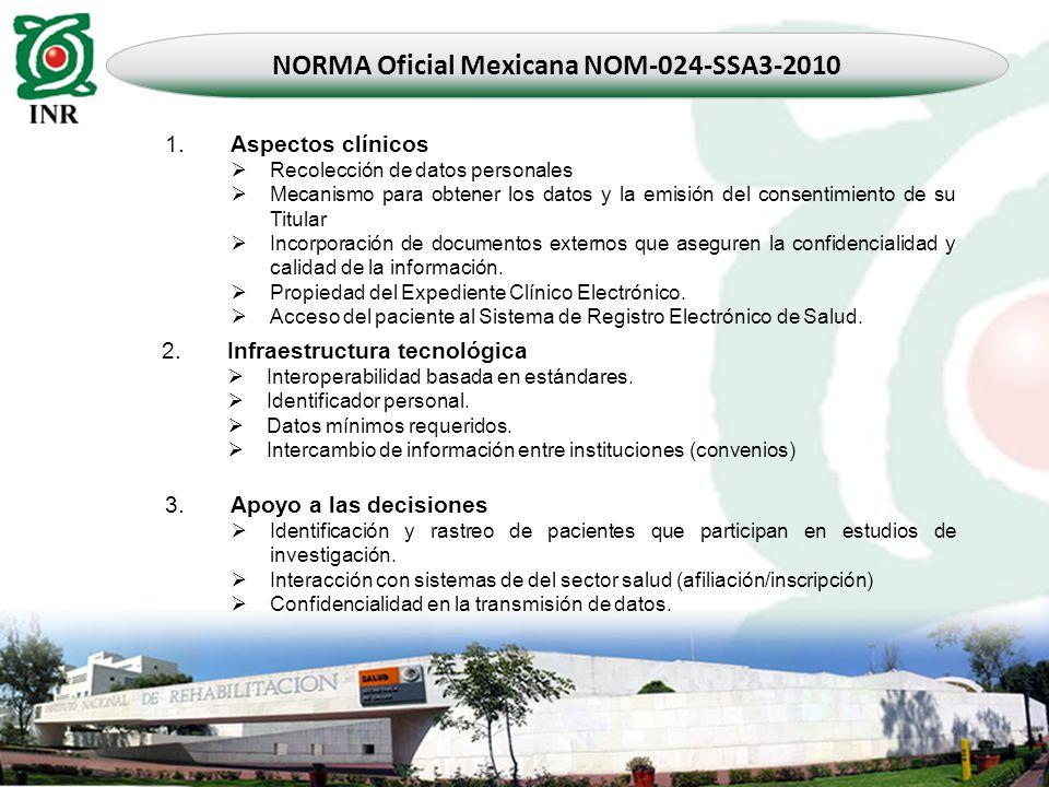 NORMA Oficial Mexicana NOM-024-SSA3-2010 1. Aspectos clínicos Recolección de datos personales Mecanismo para obtener los datos y la emisión del consen
