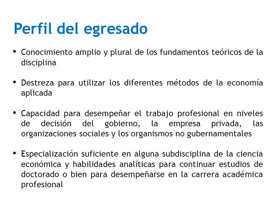Conocimiento amplio y plural de los fundamentos teóricos de la disciplina Destreza para utilizar los diferentes métodos de la economía aplicada Capaci