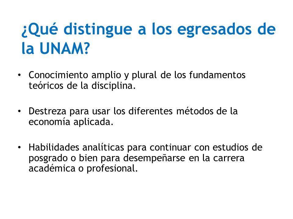 ¿Qué distingue a los egresados de la UNAM? Conocimiento amplio y plural de los fundamentos teóricos de la disciplina. Destreza para usar los diferente