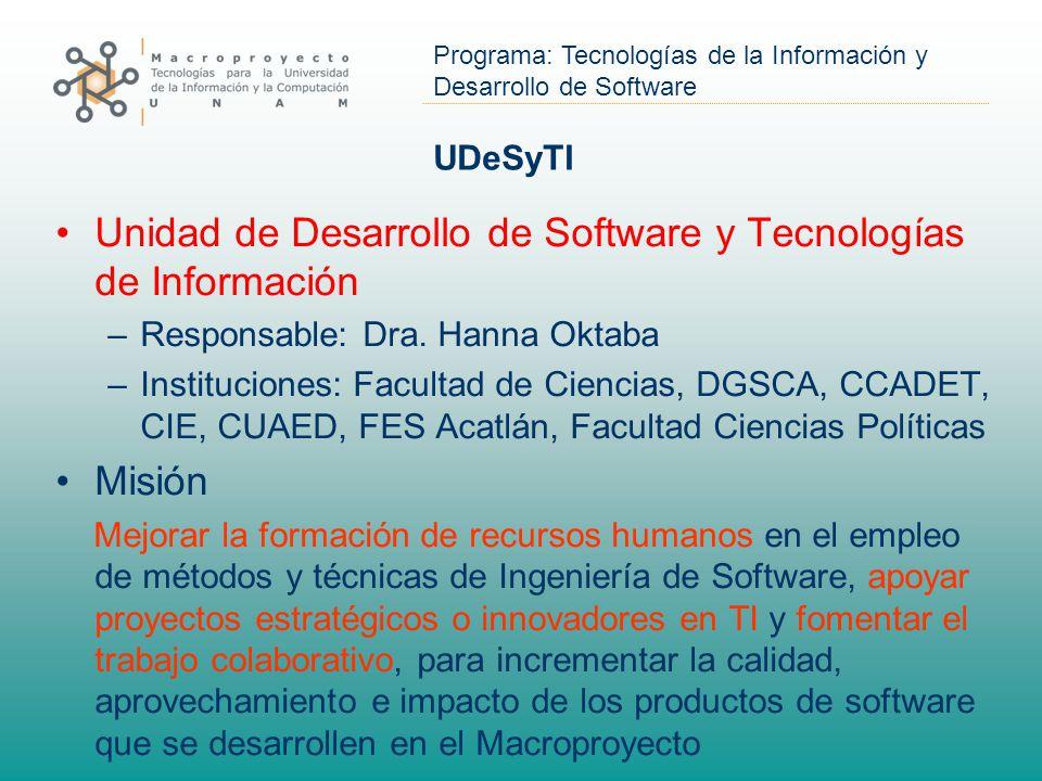 Programa: Tecnologías de la Información y Desarrollo de Software UDeSyTI Unidad de Desarrollo de Software y Tecnologías de Información –Responsable: Dra.
