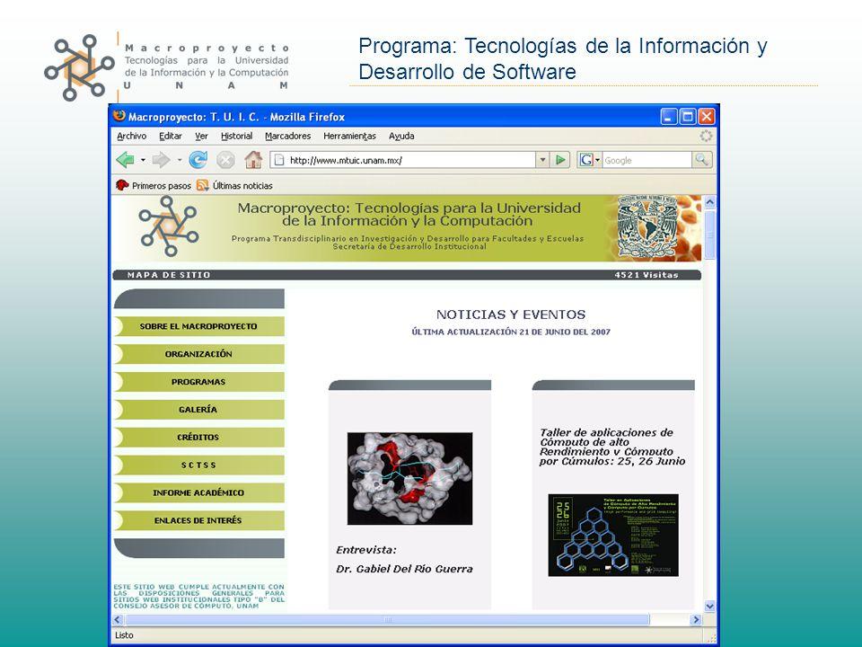 Programa: Tecnologías de la Información y Desarrollo de Software Sitio web MTUIC