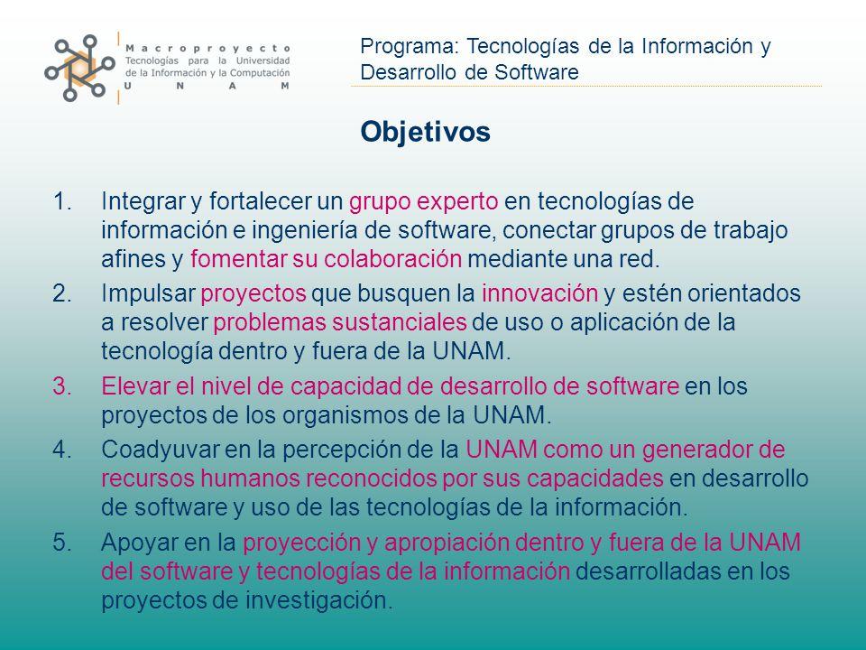 Programa: Tecnologías de la Información y Desarrollo de Software Objetivos 1.Integrar y fortalecer un grupo experto en tecnologías de información e ingeniería de software, conectar grupos de trabajo afines y fomentar su colaboración mediante una red.