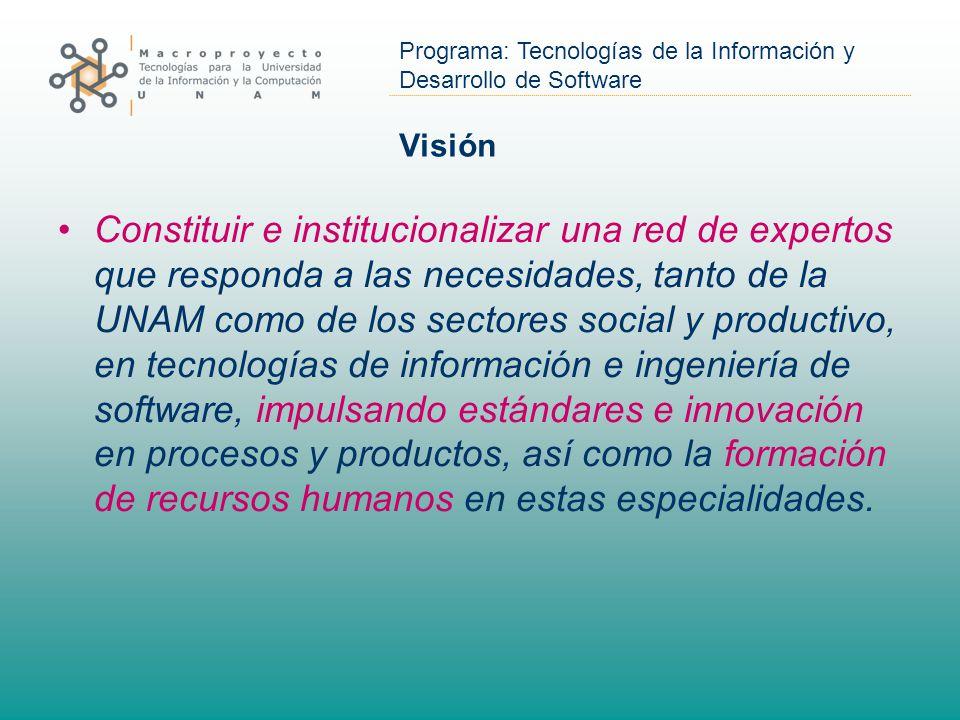 Programa: Tecnologías de la Información y Desarrollo de Software Visión Constituir e institucionalizar una red de expertos que responda a las necesidades, tanto de la UNAM como de los sectores social y productivo, en tecnologías de información e ingeniería de software, impulsando estándares e innovación en procesos y productos, así como la formación de recursos humanos en estas especialidades.
