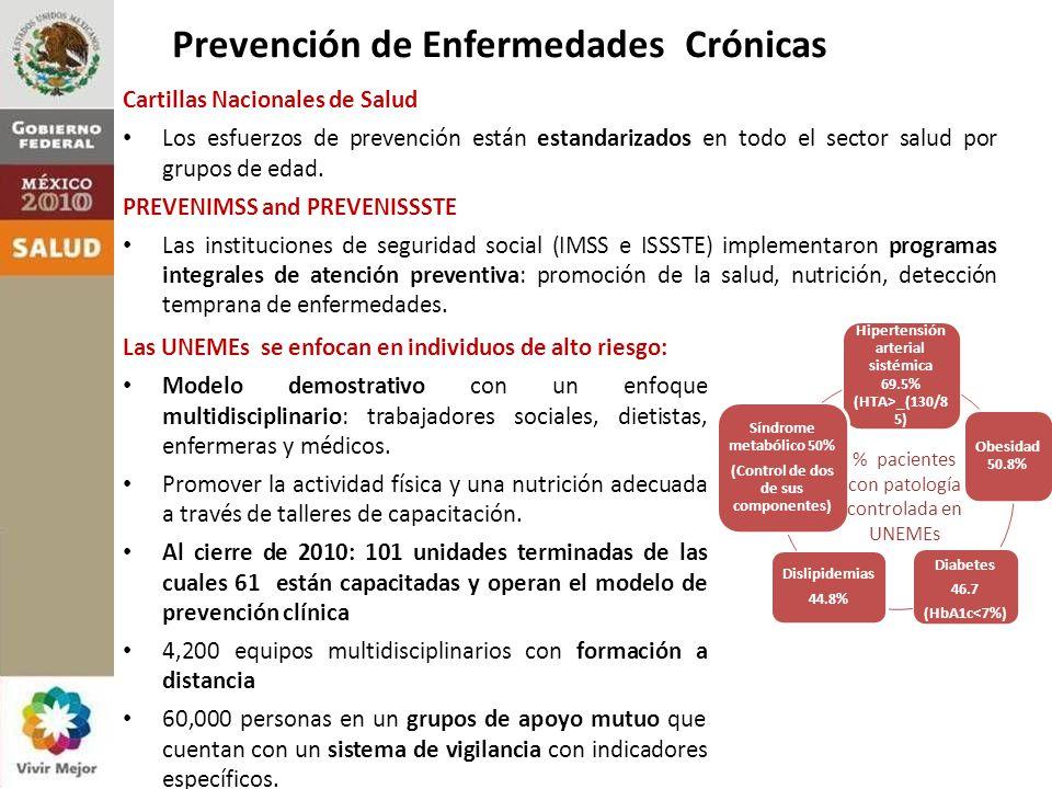 4. Anticipar los retos futuros: prevención de enfermedades crónicas Las UNEMEs se enfocan en individuos de alto riesgo: Modelo demostrativo con un enf