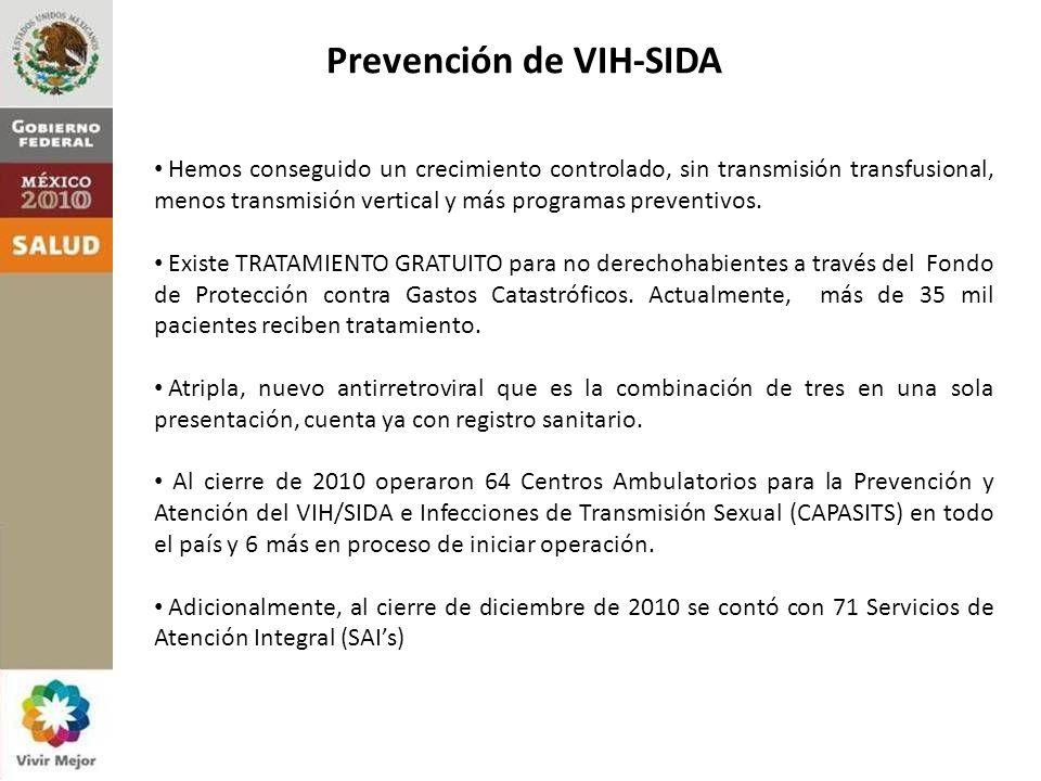 Prevención de VIH-SIDA Hemos conseguido un crecimiento controlado, sin transmisión transfusional, menos transmisión vertical y más programas preventivos.