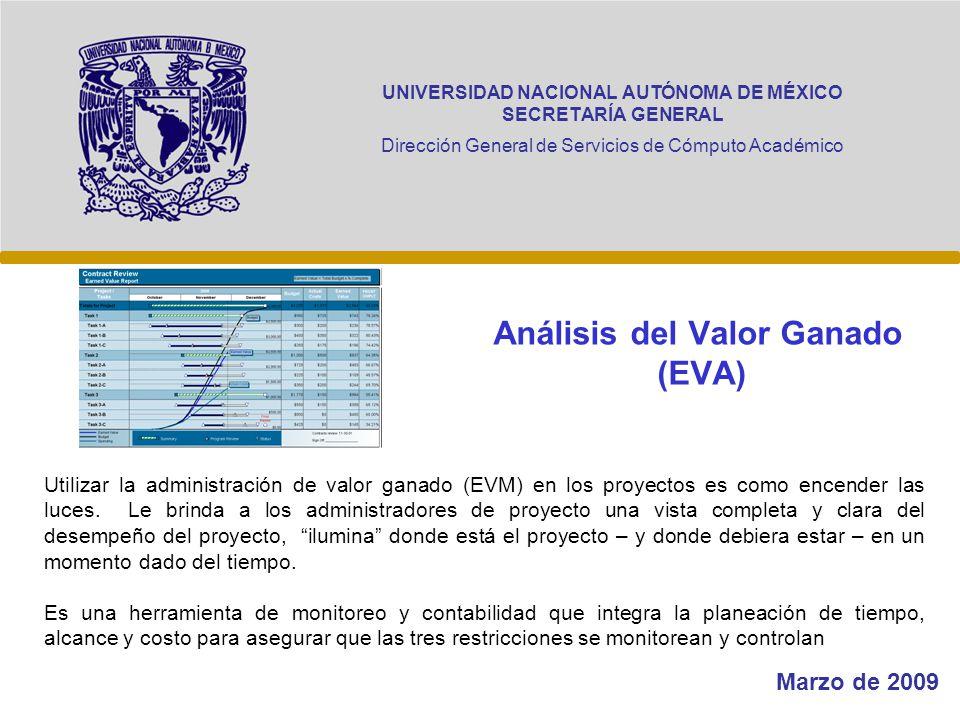 UNIVERSIDAD NACIONAL AUTÓNOMA DE MÉXICO SECRETARÍA GENERAL Dirección General de Servicios de Cómputo Académico Análisis del Valor Ganado (EVA) Marzo d