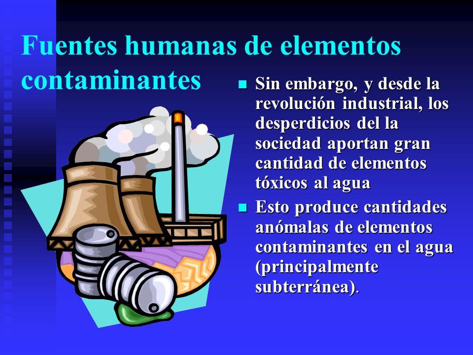 Fuentes naturales de elementos traza Algunos eventos naturales como volcanes y zonas de minas aportan elementos traza al agua natural en cantidades al