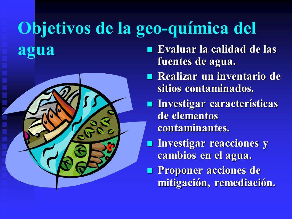 Investigaciones de geoquímica ambiental La geoquímica ambiental investiga el origen, movilidad, características, reacciones, etc., de los contaminante