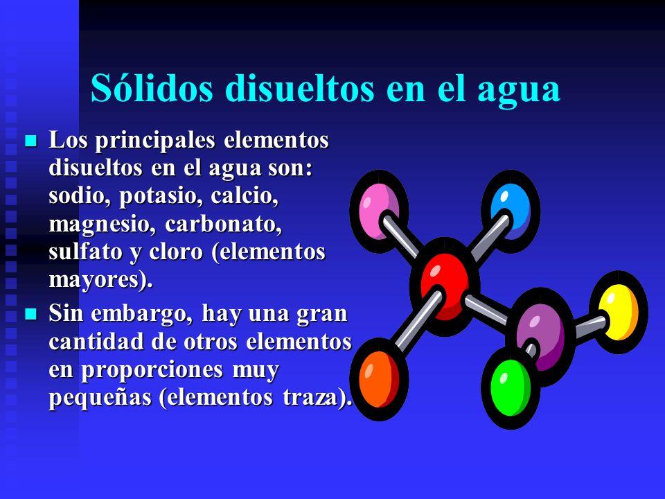 Química del agua (H 2 O) El agua (H 2 O), nunca es pura. Siempre tiende a disolver minerales. El agua potable necesita tener entre 200 y 500 mg de min
