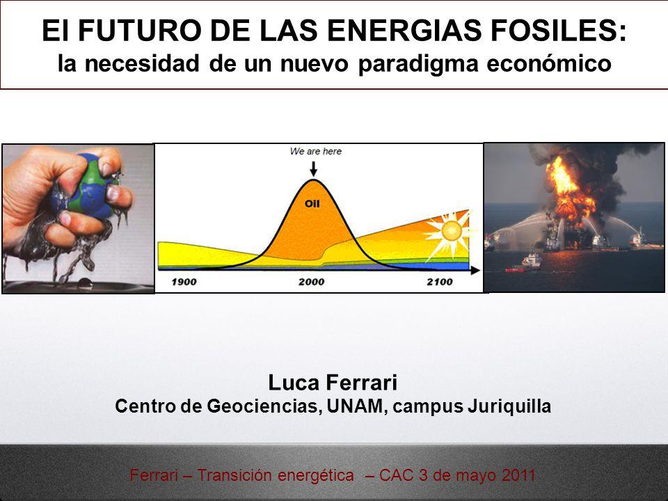 Combustibles fósiles: relevancia, formación y producción Peak oil: el fin de la energía barata Petróleo no convencional, gas y carbón México en la era del declive Retos para sustituir el petróleo Cambio de paradigma para la sustentabilidad Índice Ferrari – Transición energética – CAC 3 de mayo 2011