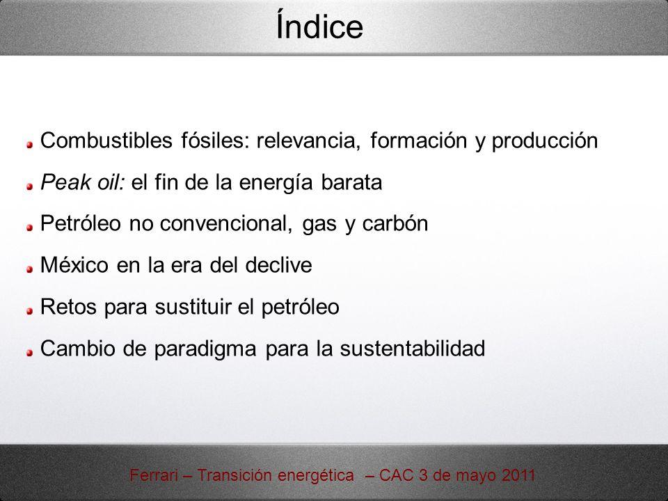 Evidencias del Peak Oil: precio y producción http://earlywarn.blogspot.com/2011/02/new-highs-of-liquid-fuel-production- in.html Ferrari – Transición energética – CAC 3 de mayo 2011 A pesar del aumento vertiginoso de los precios iniciados en 2004, la producción hasta todo 2010 se mantiene en una banda de fluctuación del 4%: la nueva producción es apenas suficiente para compensar el declive de los campos existentes