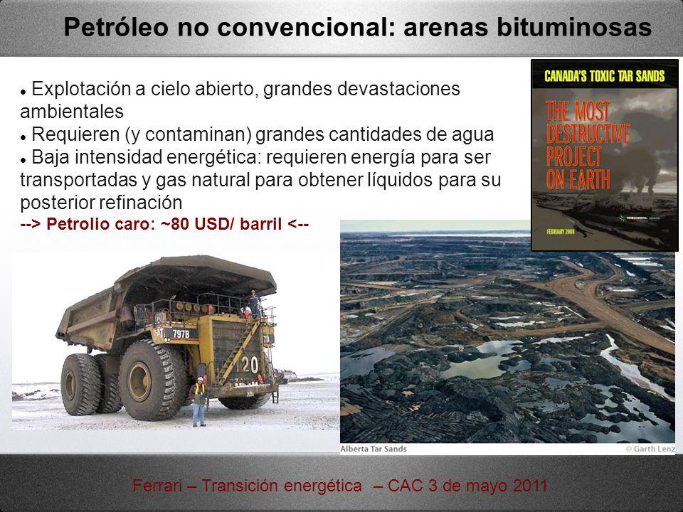Petróleo no convencional: arenas bituminosas Explotación a cielo abierto, grandes devastaciones ambientales Requieren (y contaminan) grandes cantidade