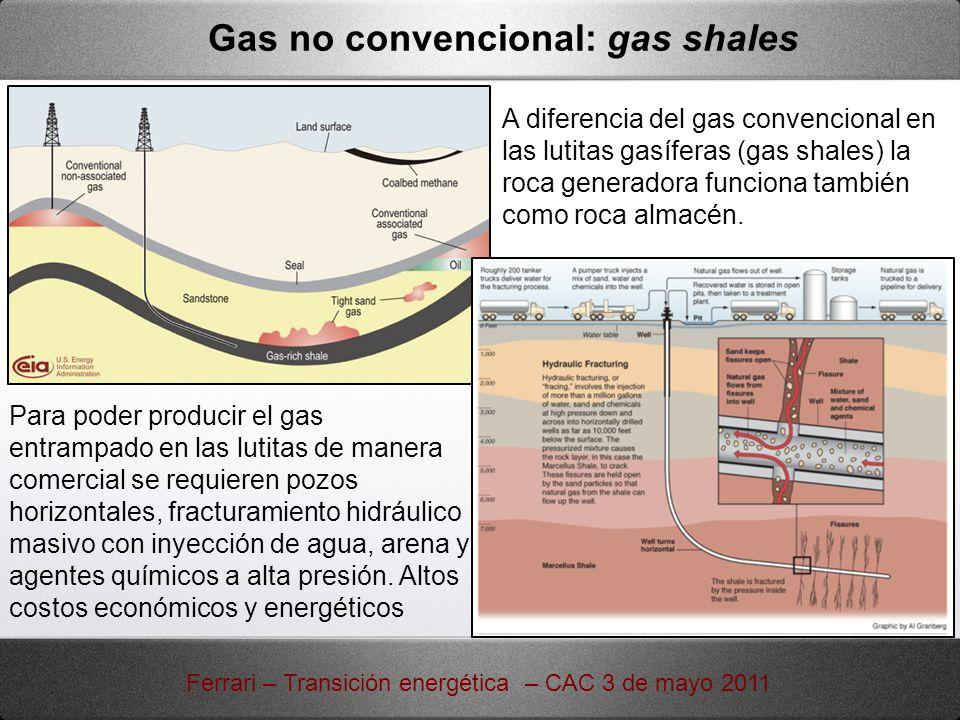 Gas no convencional: gas shales A diferencia del gas convencional en las lutitas gasíferas (gas shales) la roca generadora funciona también como roca