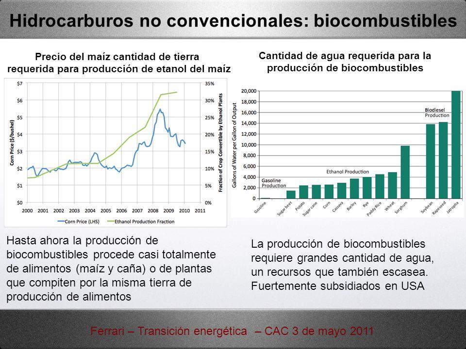 Hasta ahora la producción de biocombustibles procede casi totalmente de alimentos (maíz y caña) o de plantas que compiten por la misma tierra de produ