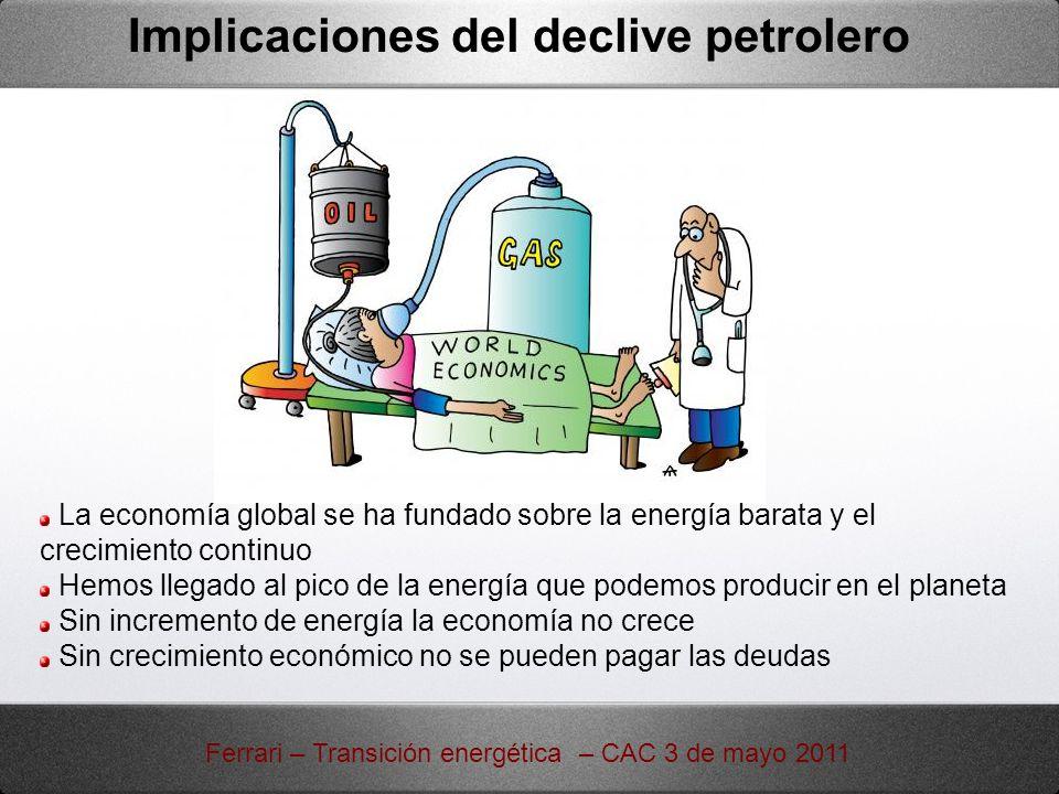 Implicaciones del declive petrolero Ferrari – Transición energética – CAC 3 de mayo 2011 La economía global se ha fundado sobre la energía barata y el