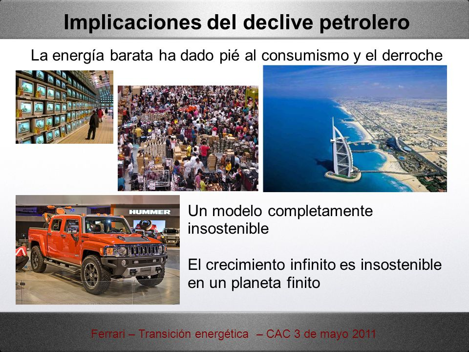 Implicaciones del declive petrolero La energía barata ha dado pié al consumismo y el derroche Un modelo completamente insostenible El crecimiento infi