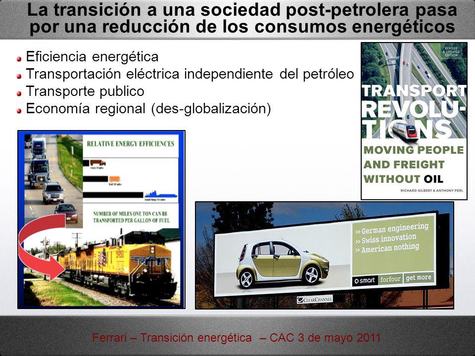 La transición a una sociedad post-petrolera pasa por una reducción de los consumos energéticos Eficiencia energética Transportación eléctrica independ