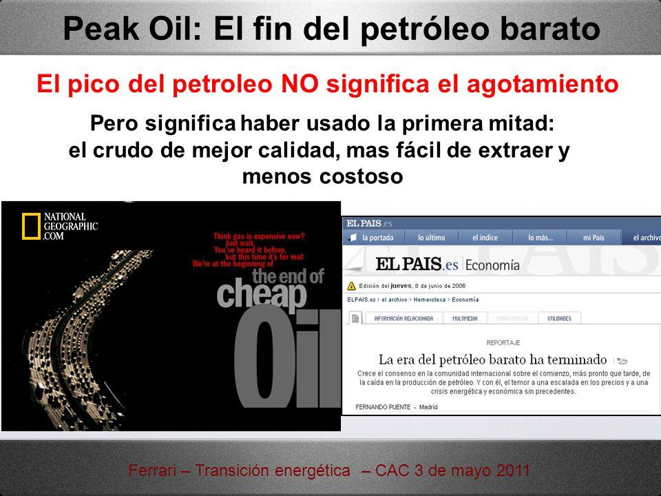 El pico del petroleo NO significa el agotamiento Pero significa haber usado la primera mitad: el crudo de mejor calidad, mas fácil de extraer y menos