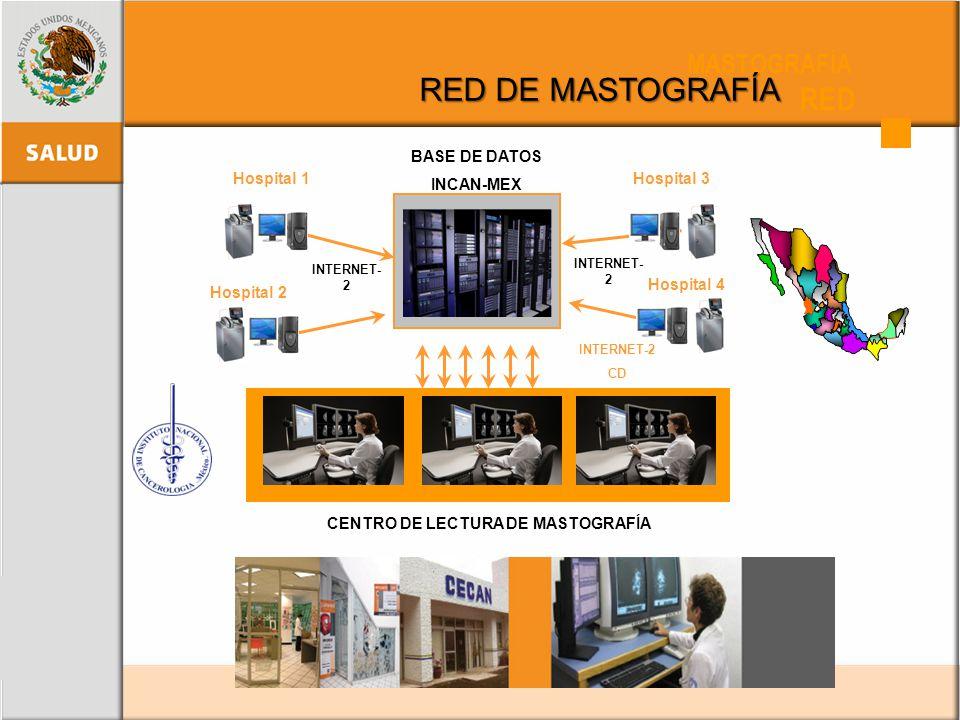 Hospital 2 Hospital 4 BASE DE DATOS INCAN-MEX Hospital 1Hospital 3 INTERNET- 2 CENTRO DE LECTURA DE MASTOGRAFÍA INTERNET-2 CD MASTOGRAFÍA RED RED DE M