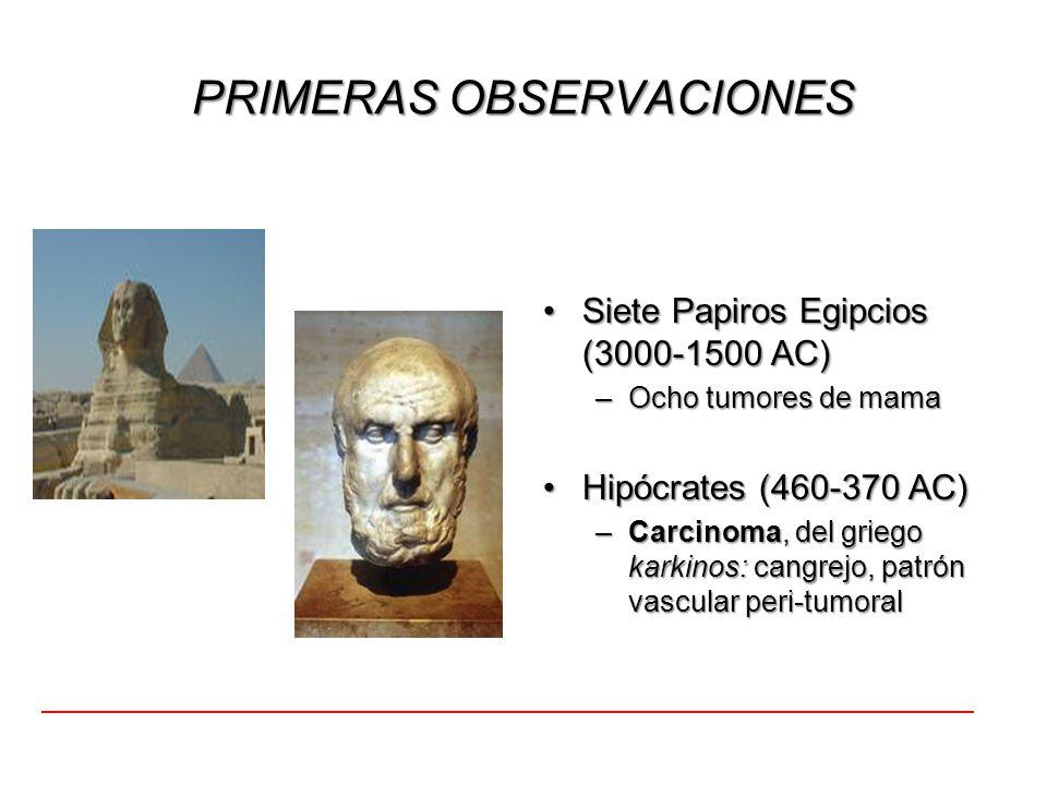 PRIMERAS OBSERVACIONES Siete Papiros Egipcios (3000-1500 AC)Siete Papiros Egipcios (3000-1500 AC) –Ocho tumores de mama Hipócrates (460-370 AC)Hipócra