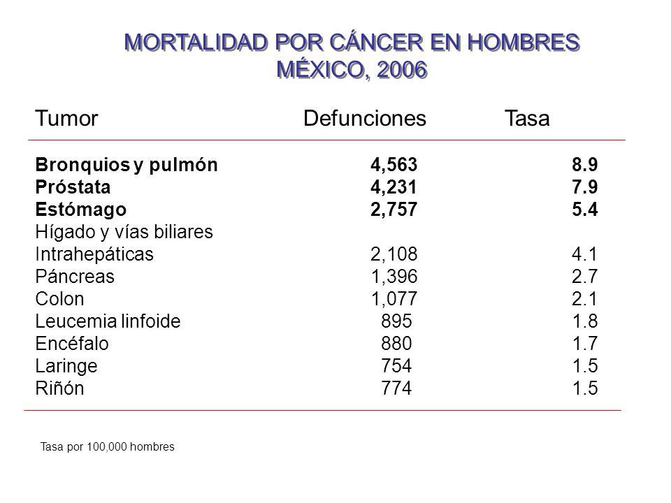 MORTALIDAD POR CÁNCER EN HOMBRES MÉXICO, 2006 MORTALIDAD POR CÁNCER EN HOMBRES MÉXICO, 2006 TumorDefuncionesTasa Bronquios y pulmón4,5638.9 Próstata4,