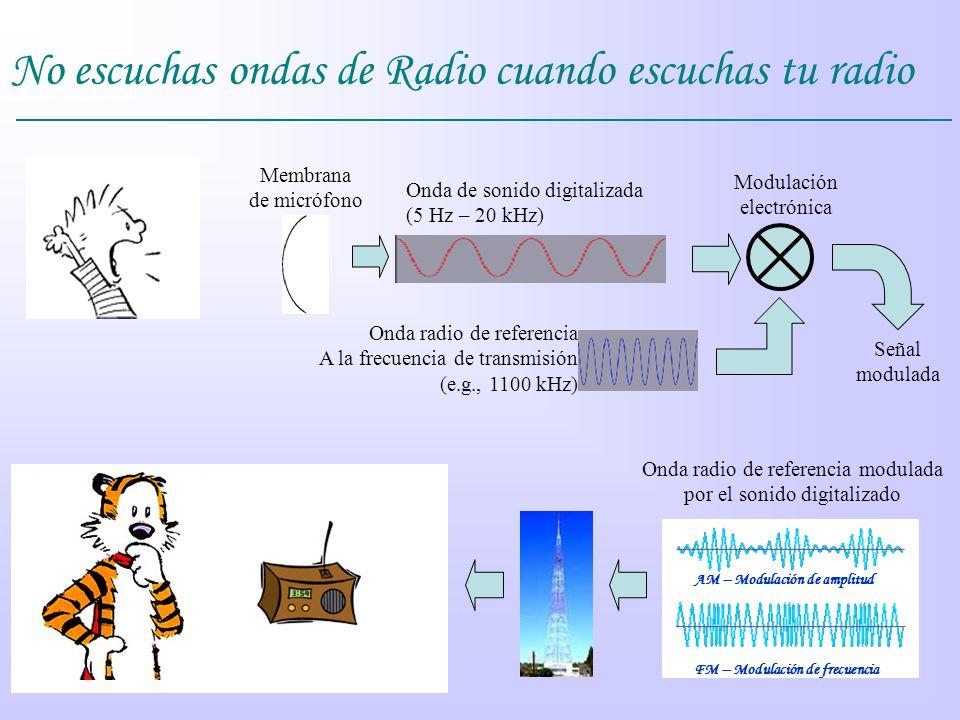 No escuchas ondas de Radio cuando escuchas tu radio Membrana de micrófono Onda de sonido digitalizada (5 Hz – 20 kHz) Modulación electrónica Onda radi