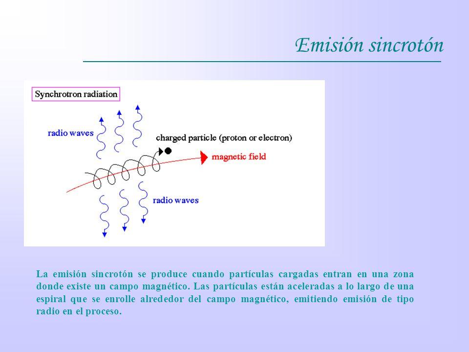 Emisión sincrotón La emisión sincrotón se produce cuando partículas cargadas entran en una zona donde existe un campo magnético. Las partículas están