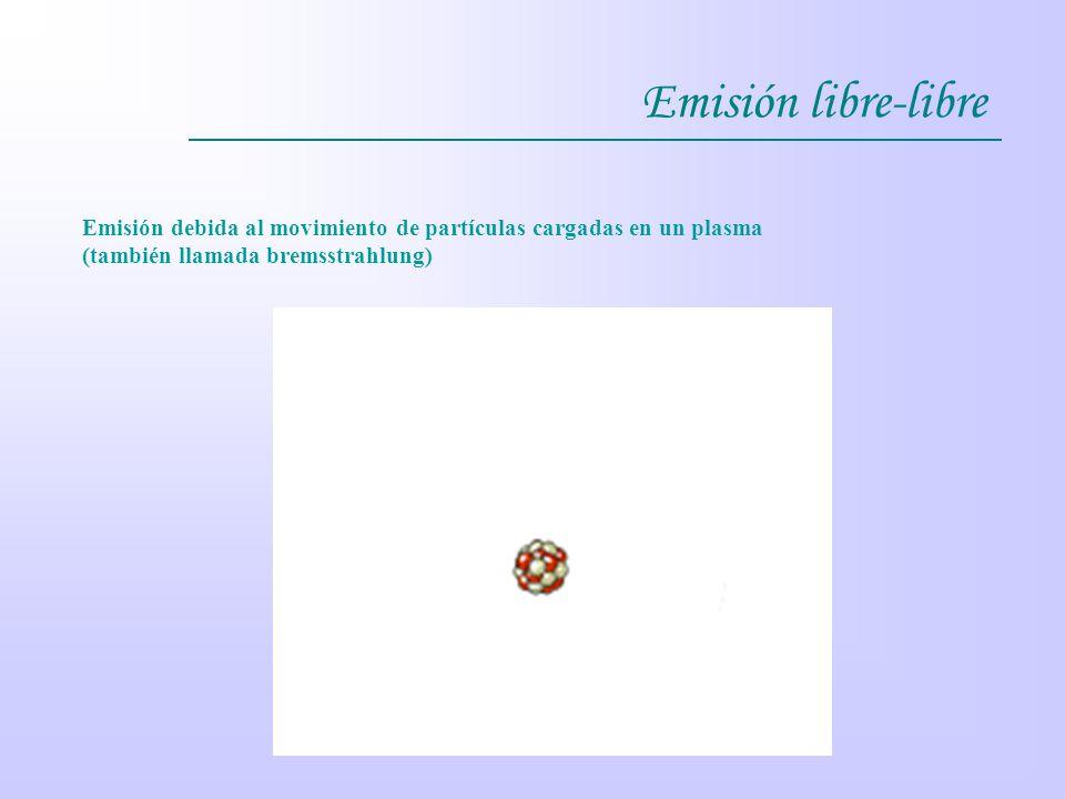 Emisión libre-libre Emisión debida al movimiento de partículas cargadas en un plasma (también llamada bremsstrahlung)