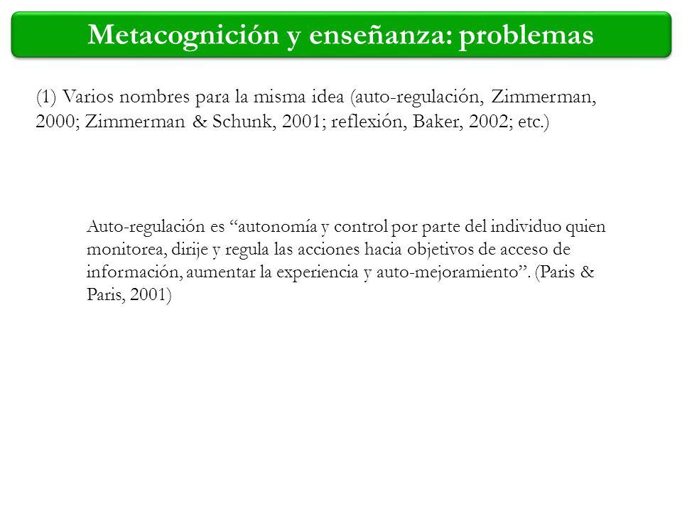 (1) Varios nombres para la misma idea (auto-regulación, Zimmerman, 2000; Zimmerman & Schunk, 2001; reflexión, Baker, 2002; etc.) Auto-regulación es au
