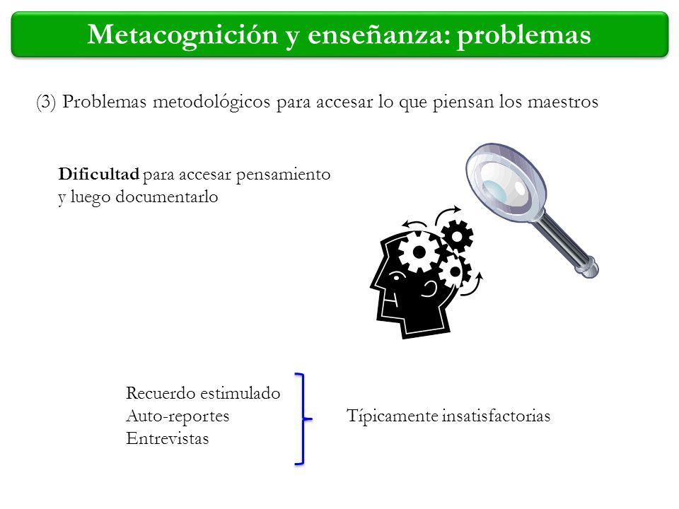 (3) Problemas metodológicos para accesar lo que piensan los maestros Dificultad para accesar pensamiento y luego documentarlo Recuerdo estimulado Auto