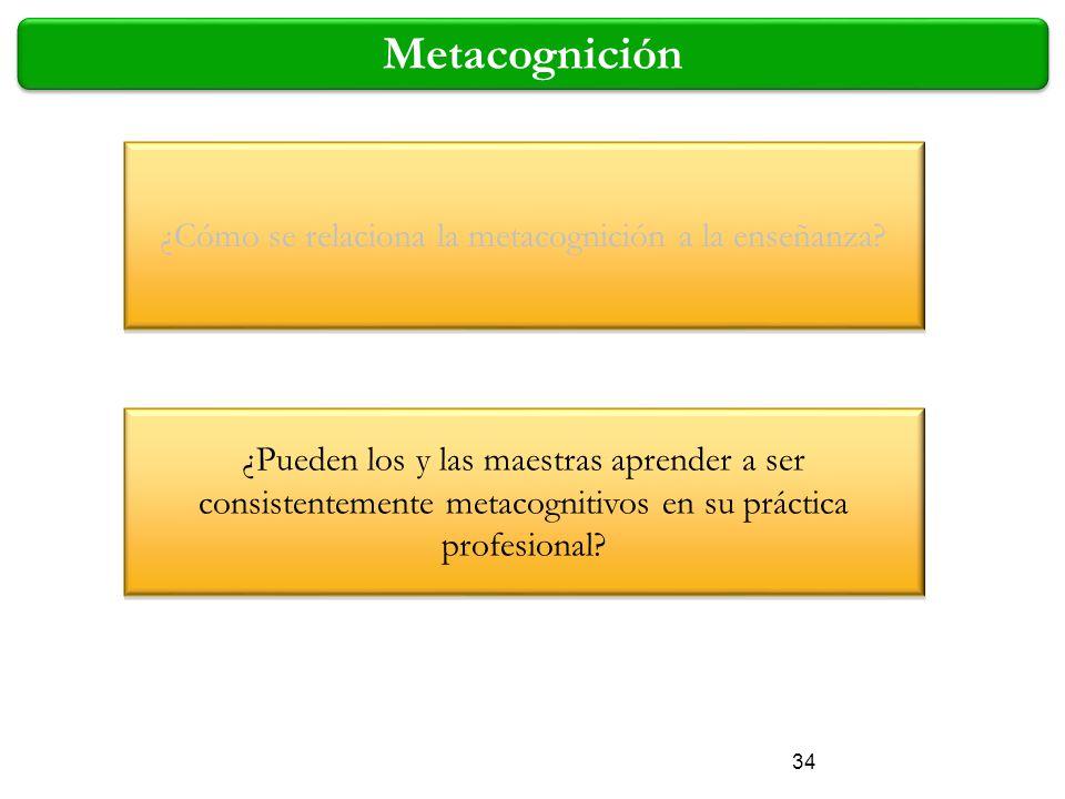 34 Metacognición ¿Cómo se relaciona la metacognición a la enseñanza? ¿Pueden los y las maestras aprender a ser consistentemente metacognitivos en su p