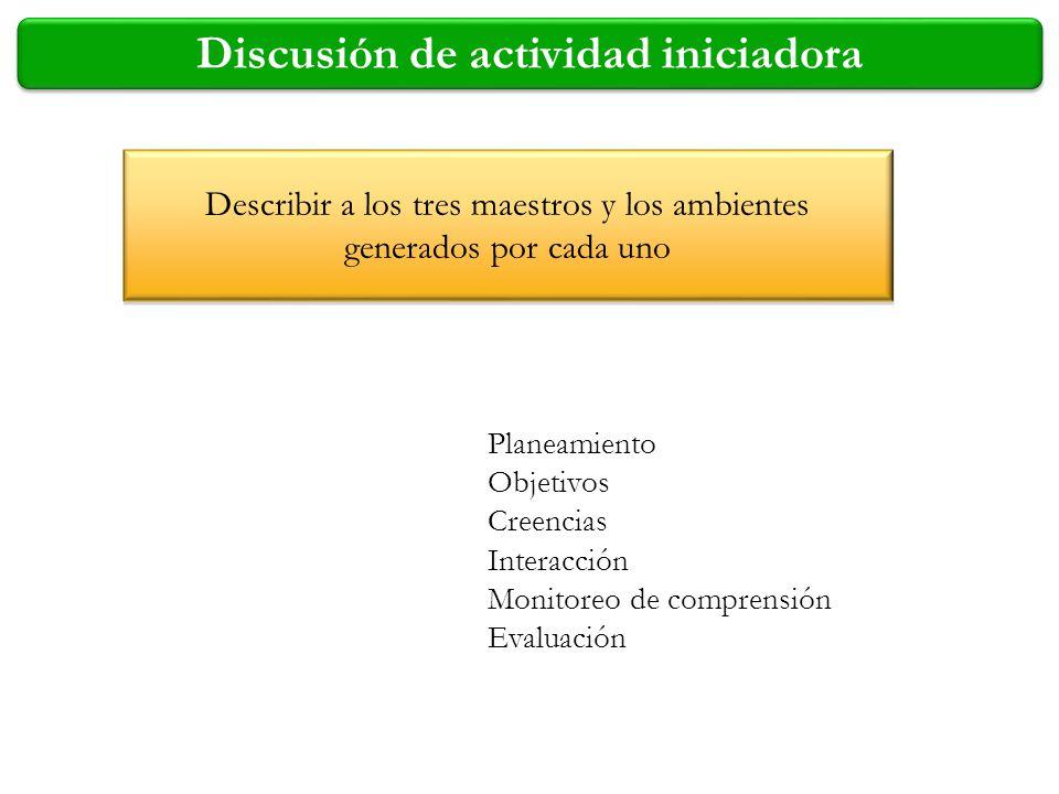 Discusión de actividad iniciadora Describir a los tres maestros y los ambientes generados por cada uno Planeamiento Objetivos Creencias Interacción Mo