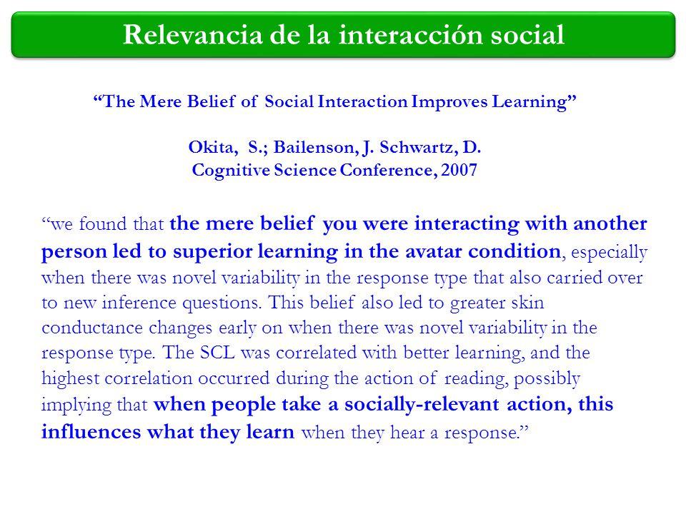 Relevancia de la interacción social The Mere Belief of Social Interaction Improves Learning Okita, S.; Bailenson, J. Schwartz, D. Cognitive Science Co