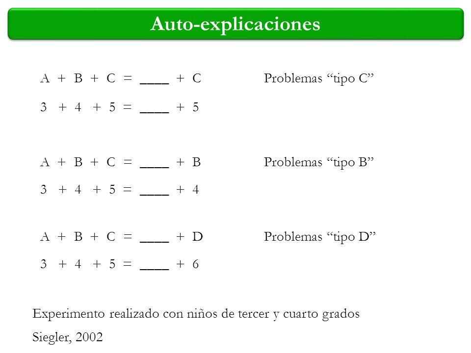 Auto-explicaciones A + B + C = ____ + C A + B + C = ____ + B A + B + C = ____ + D 3 + 4 + 5 = ____ + 5 3 + 4 + 5 = ____ + 4 3 + 4 + 5 = ____ + 6 Exper