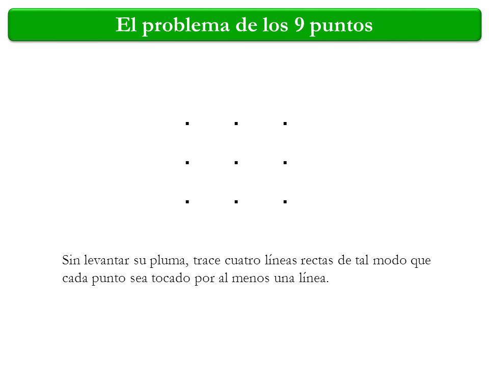 El problema de los 9 puntos.................. Sin levantar su pluma, trace cuatro líneas rectas de tal modo que cada punto sea tocado por al menos una